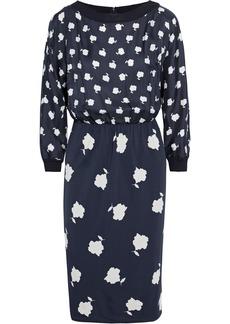 Max Mara Woman Gelada Floral-print Silk-twill And Jersey Dress Navy
