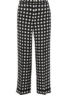 Max Mara Woman Gilda Cropped Checked Woven Wide-leg Pants Black