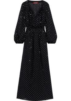 Max Mara Woman Glittered Polka-dot Georgette Maxi Dress Black