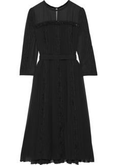 Max Mara Woman Guido Embellished Lace-trimmed Pleated Chiffon Midi Dress Black