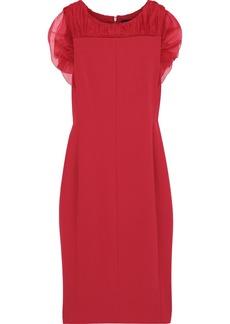Max Mara Woman Katana Ruffled Organza-trimmed Cady Dress Red