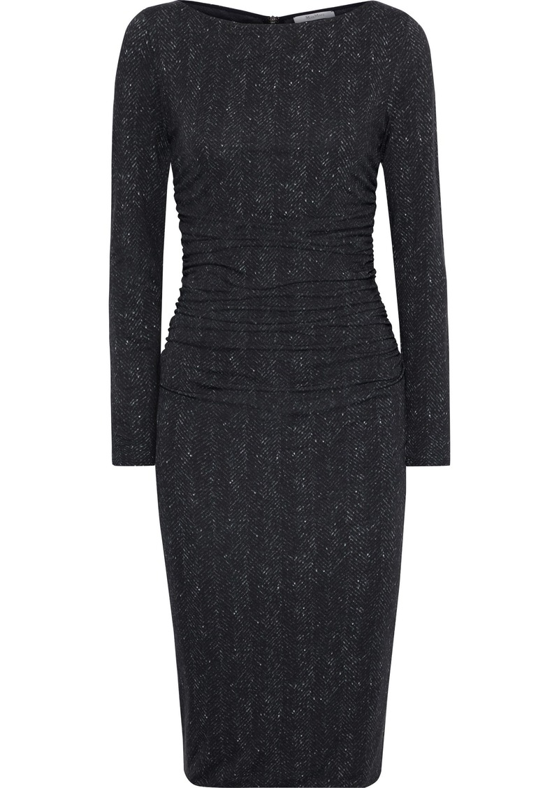 Max Mara Woman Labile Ruched Printed Stretch-jersey Dress Black