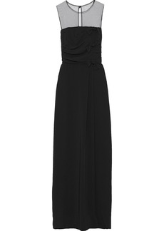 Max Mara Woman Laringe Tulle-paneled Knotted Cady Gown Black