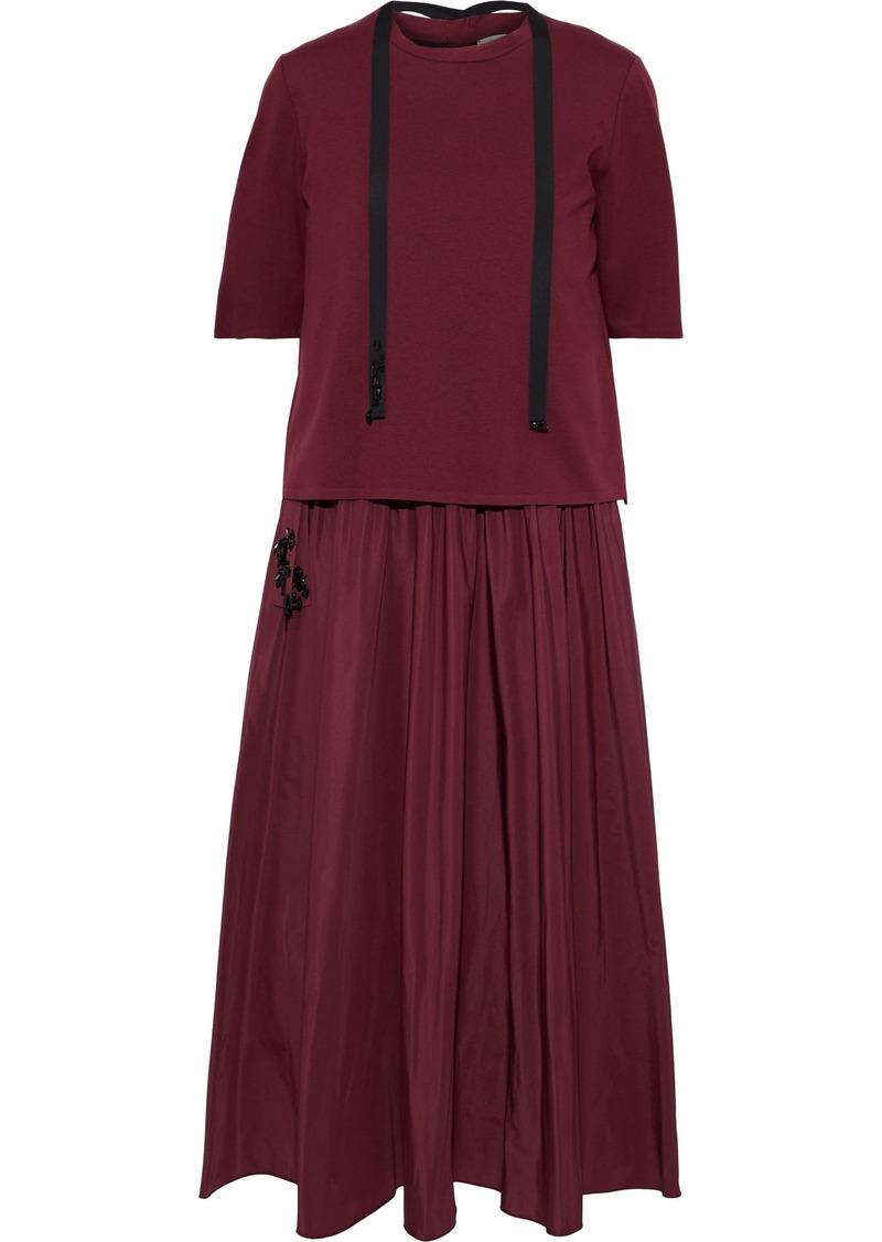 Max Mara Woman Layered Jersey And Gathered Taffeta Midi Dress Burgundy