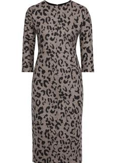 Max Mara Woman Leopard-print Wool Dress Gray