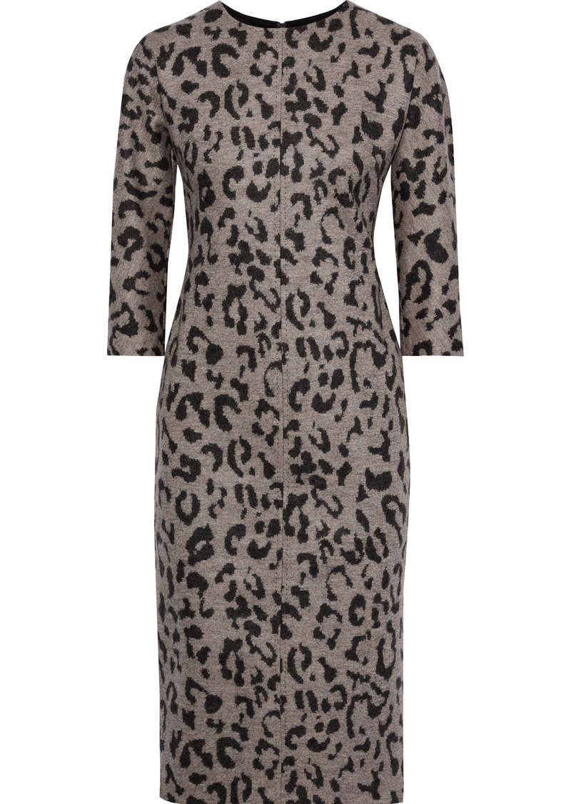 Max Mara Woman Leopard-print Wool Dress Gray