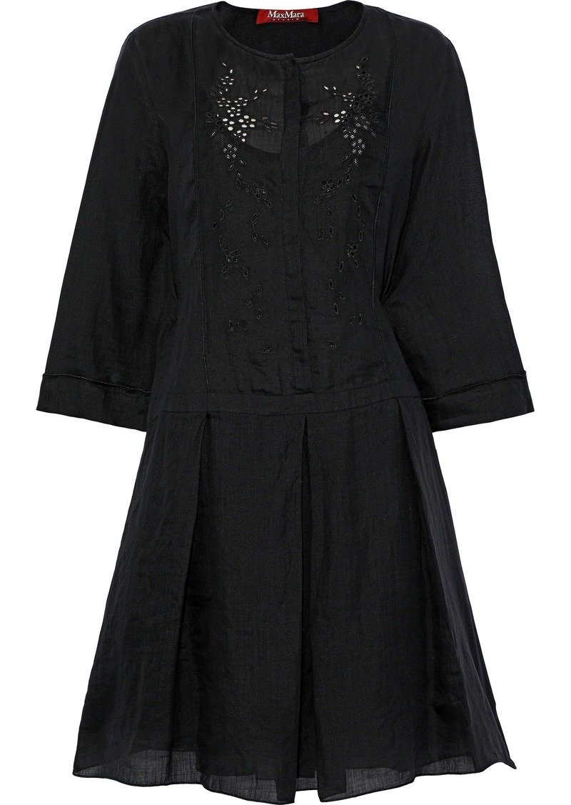 Max Mara Woman Libero Broderie Anglaise Ramie Mini Dress Black