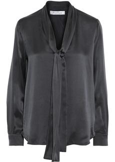 Max Mara Woman Lignano Tie-neck Silk-satin Blouse Black