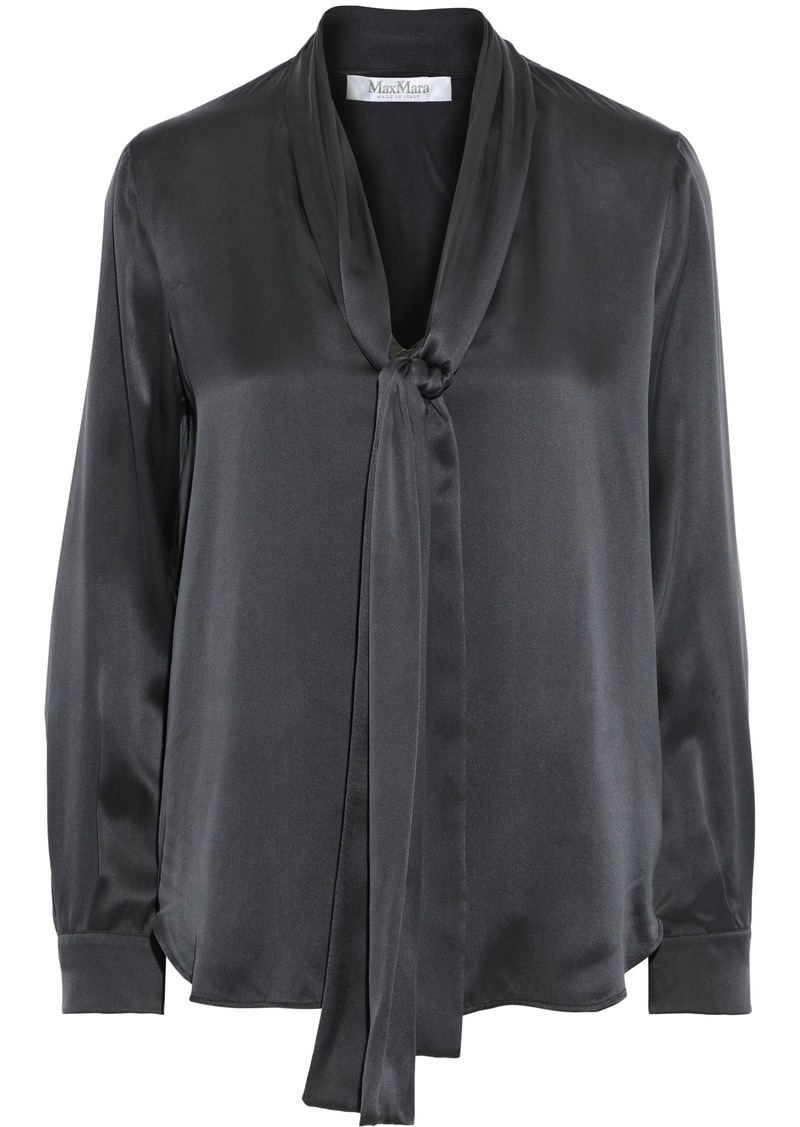 Max Mara Woman Lignano Tie-neck Silk-satin Blouse Black