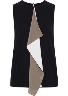 Max Mara Woman Livorno Draped Color-block Crepe Top Black
