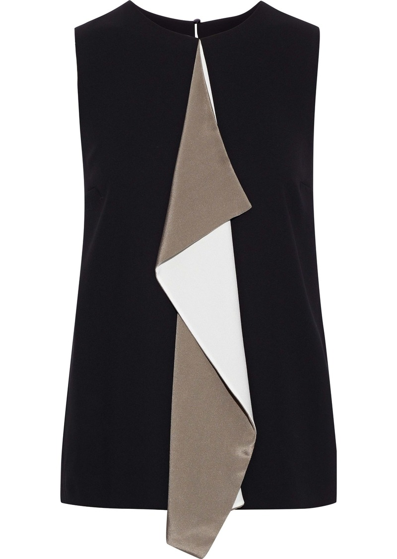 Max Mara Woman Livorno Draped Color-block Crepe Top Black