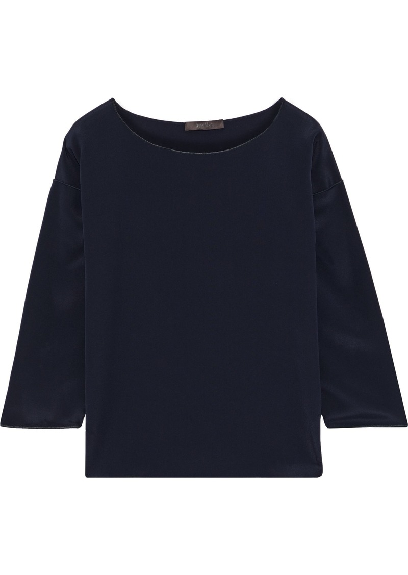 Max Mara Woman Locri Silk-satin Blouse Midnight Blue