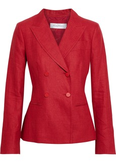 Max Mara Woman Lontra Double-breasted Linen-twill Blazer Red