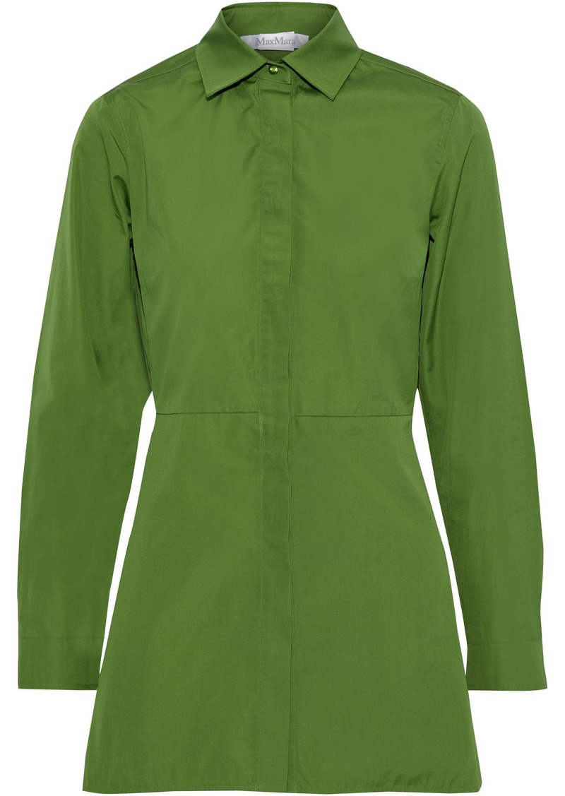Max Mara Woman Losanna Pleated Cotton-poplin Shirt Leaf Green