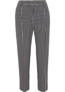 Max Mara Woman Lotus Checked Crepe Tapered Pants Black