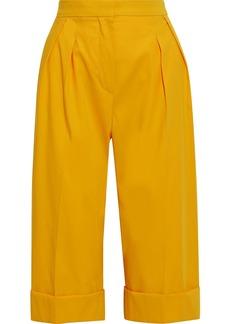 Max Mara Woman Maestro Pleated Cotton-twill Shorts Marigold