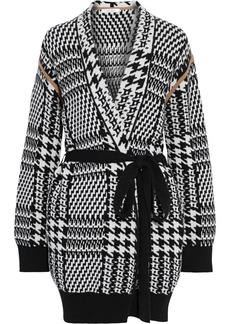 Max Mara Woman Malizia Belted Houndstooth Wool And Cashmere-blend Cardigan White