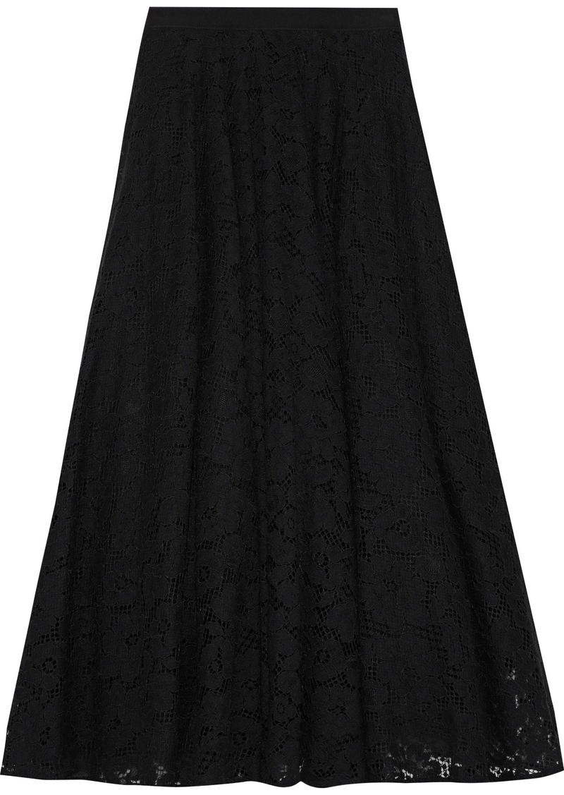 Max Mara Woman Marilyn Corded Lace Midi Skirt Black