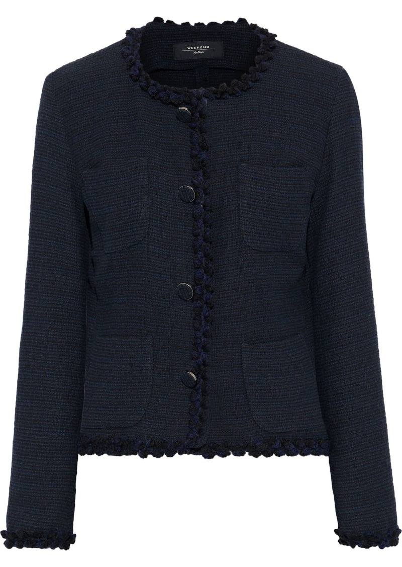 Max Mara Woman Fulcro Crochet-trimmed Cotton-blend Tweed Jacket Midnight Blue