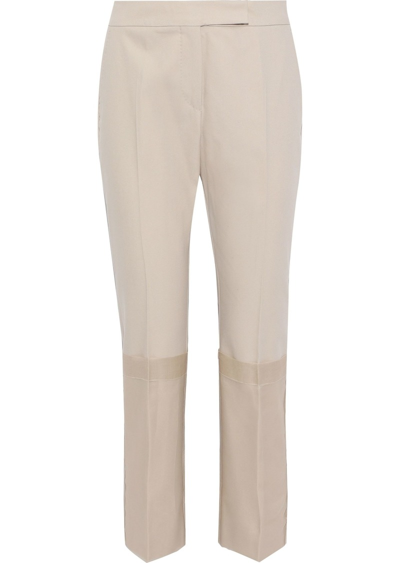 Max Mara Woman Mirto Chiffon-paneled Cotton-twill Straight-leg Pants Beige