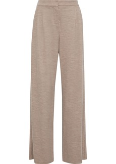 Max Mara Woman Dondolo Pleated Wool And Cotton-blend Wide-leg Pants Mushroom