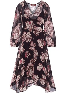 Max Mara Woman Mogador Asymmetric Floral-print Chiffon Dress Grape