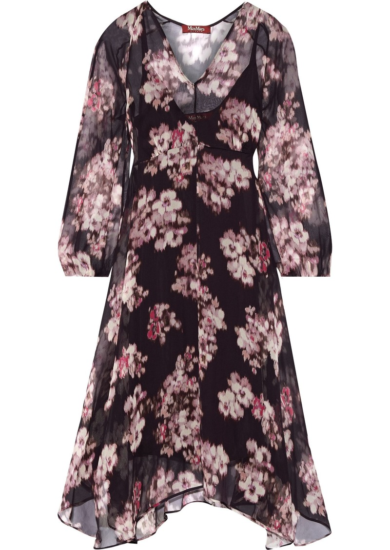 Max Mara Woman Mogador Asymmetric Floral-print Chiffon Dress Grape