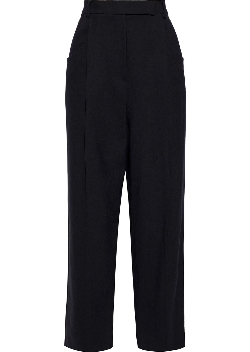 Max Mara Woman Nabarro Pleated Stretch-wool Crepe Wide-leg Pants Black