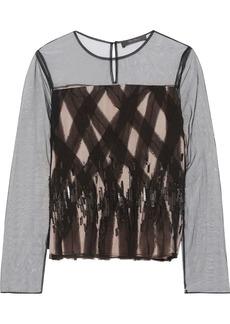 Max Mara Woman Nastie Embellished Tulle Top Black