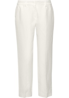 Max Mara Woman Nigeria Cropped Linen-blend Twill Tapered Pants Ivory