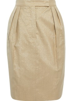 Max Mara Woman Nigeria Pleated Metallic Wool-blend Mini Skirt Gold