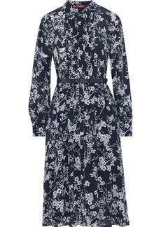 Max Mara Woman Nizza Belted Floral-print Silk Crepe De Chine Shirt Dress Midnight Blue