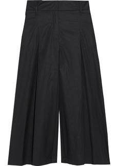 Max Mara Woman Nocino Belted Pleated Cotton-poplin Culottes Black