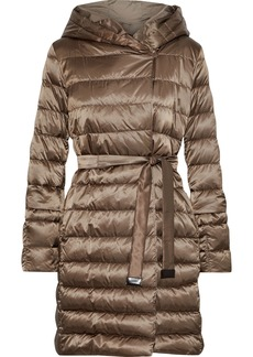 Max Mara Woman Quilted Shell Down Hooded Coat Tan
