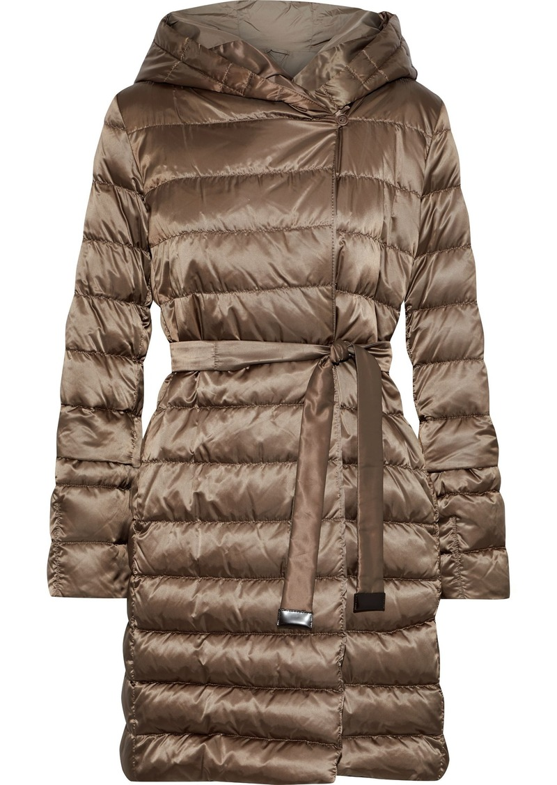 Max Mara Woman Novef Reversible Quilted Shell Hooded Down Coat Tan