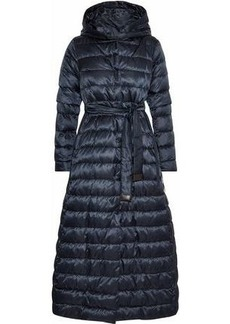Max Mara Woman Novel Reversible Quilted Shell Down Hooded Coat Storm Blue