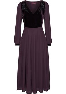 Max Mara Woman Odissea Embellished Velvet-paneled Silk Crepe De Chine Midi Dress Grape