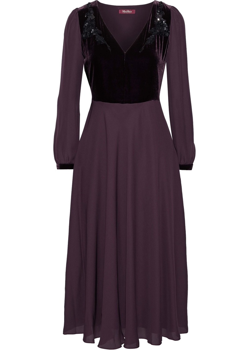 Max Mara Woman Odissea Embellished Velvet-paneled Silk Crepe De Chine Midi Dress Grape