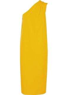Max Mara Woman One-shoulder Gathered Cotton-poplin Midi Dress Yellow