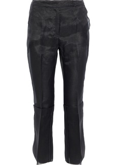 Max Mara Woman Opale Cropped Silk-organza Slim-leg Pants Black