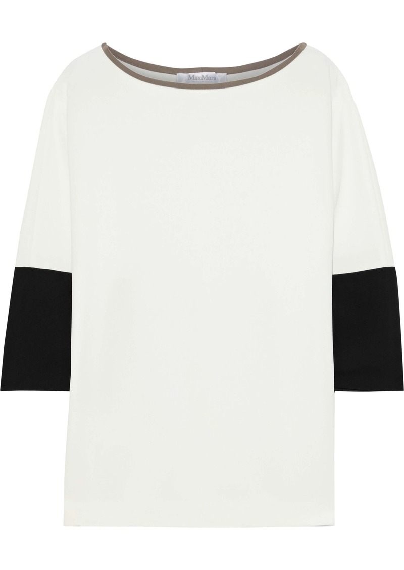 Max Mara Woman Orologi Satin-trimmed Crepe Top White