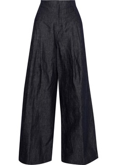 Max Mara Woman Ottano Mélange Cotton And Linen-blend Wide-leg Pants Dark Denim