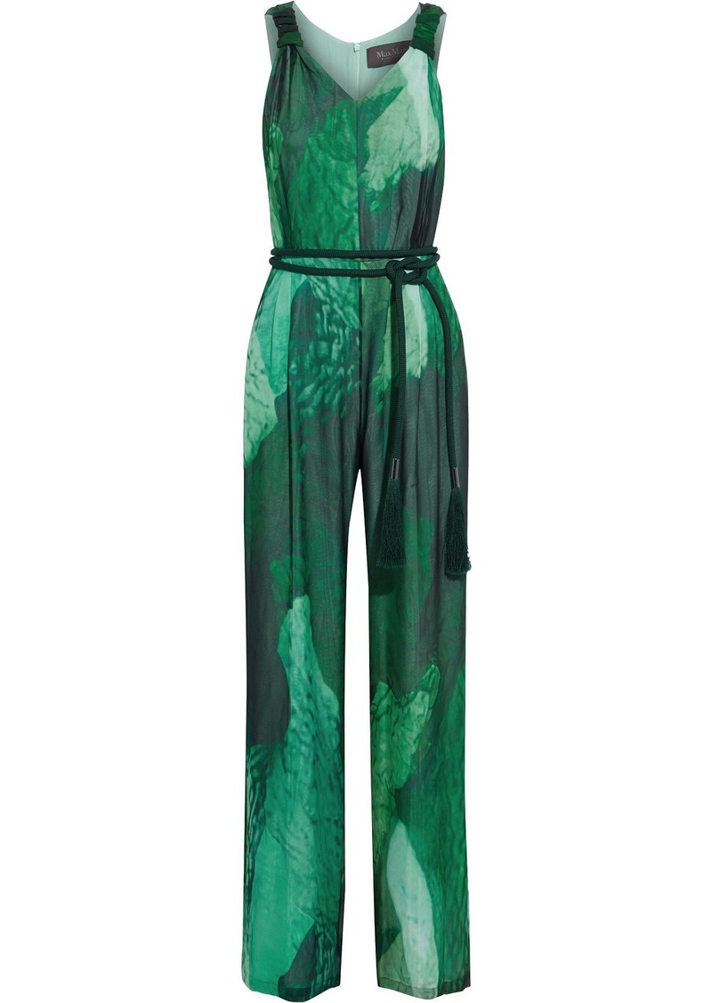Max Mara Woman Paco Belted Printed Silk-chiffon Wide-leg Jumpsuit Green
