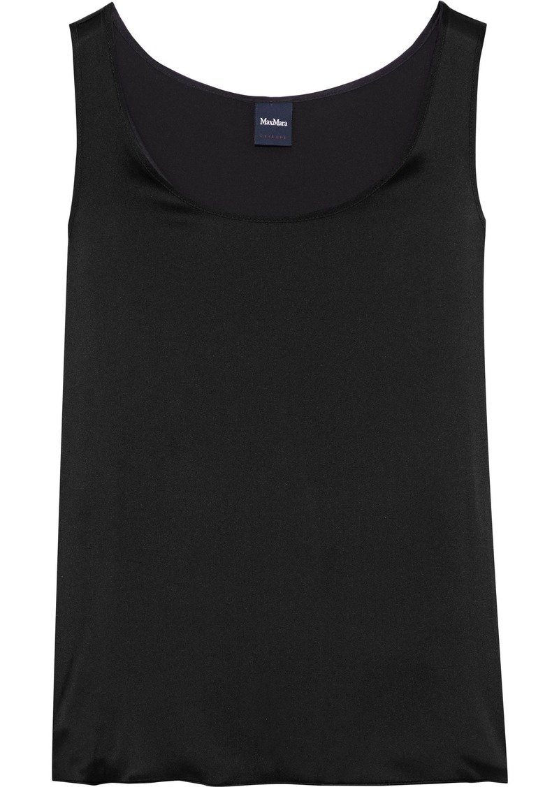 Max Mara Woman Pan Washed Stretch-silk Tank Black