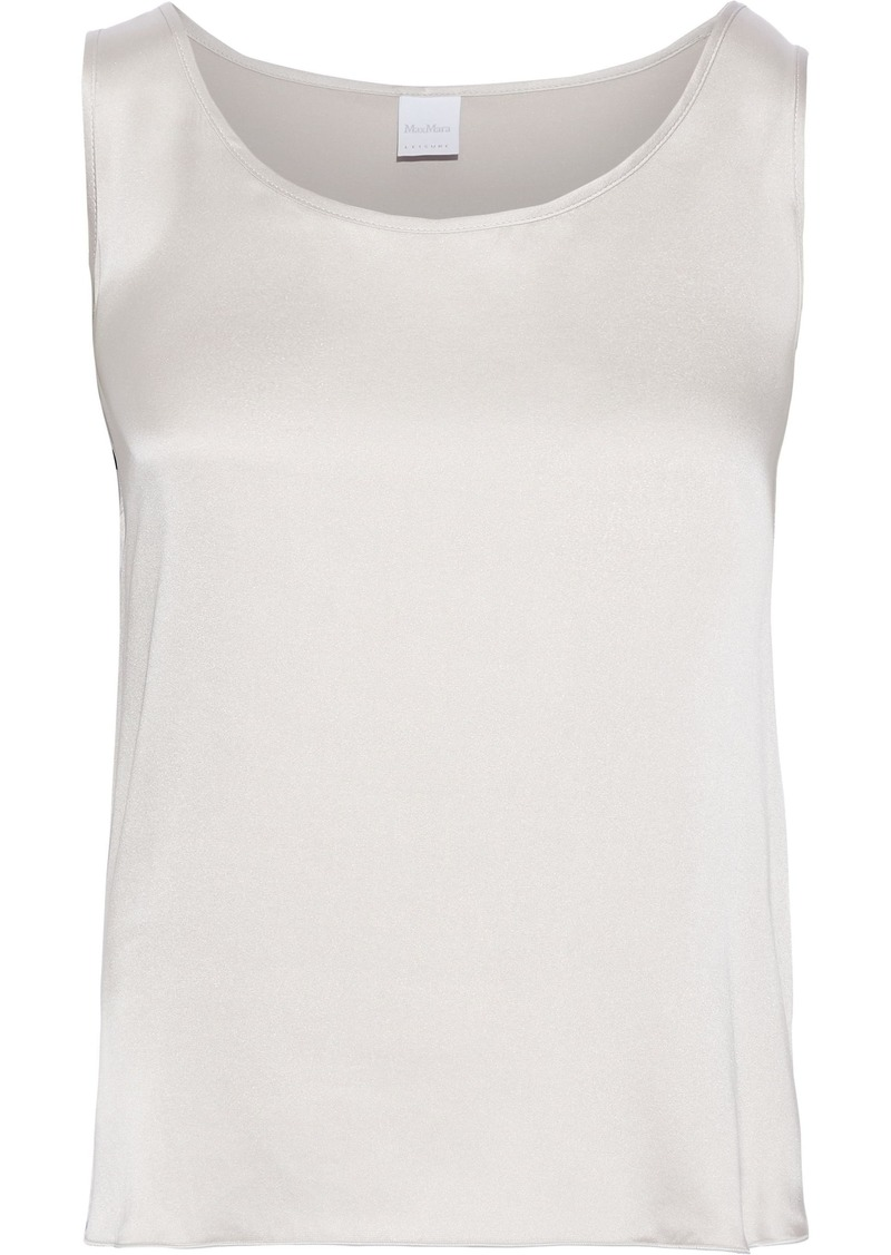 Max Mara Woman Pan Washed Stretch-silk Tank Light Gray