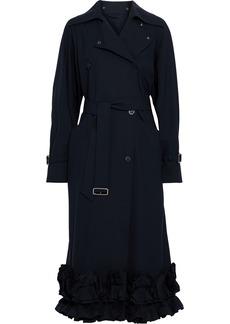 Max Mara Woman Panay Ruffled Wool-blend Trench Coat Midnight Blue