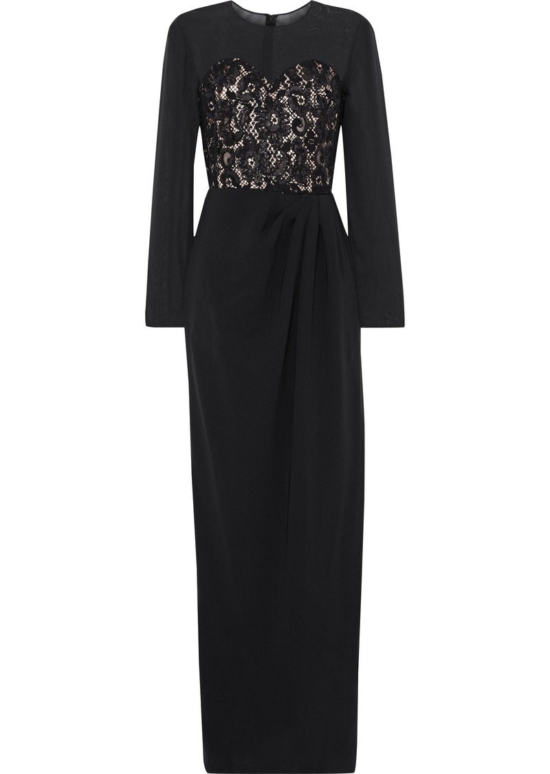 Max Mara Woman Paneled Silk-chiffon Corded Lace And Crepe Gown Black