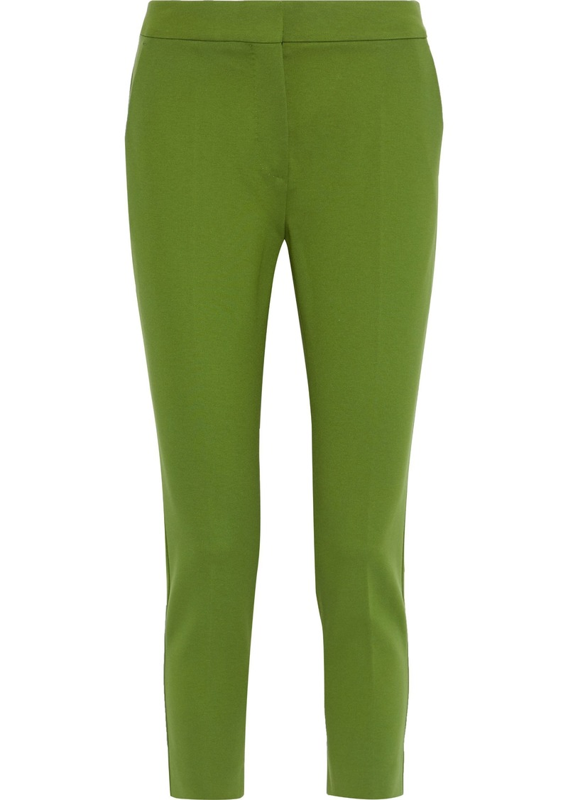Max Mara Woman Pegno Cropped Jersey Skinny Pants Leaf Green