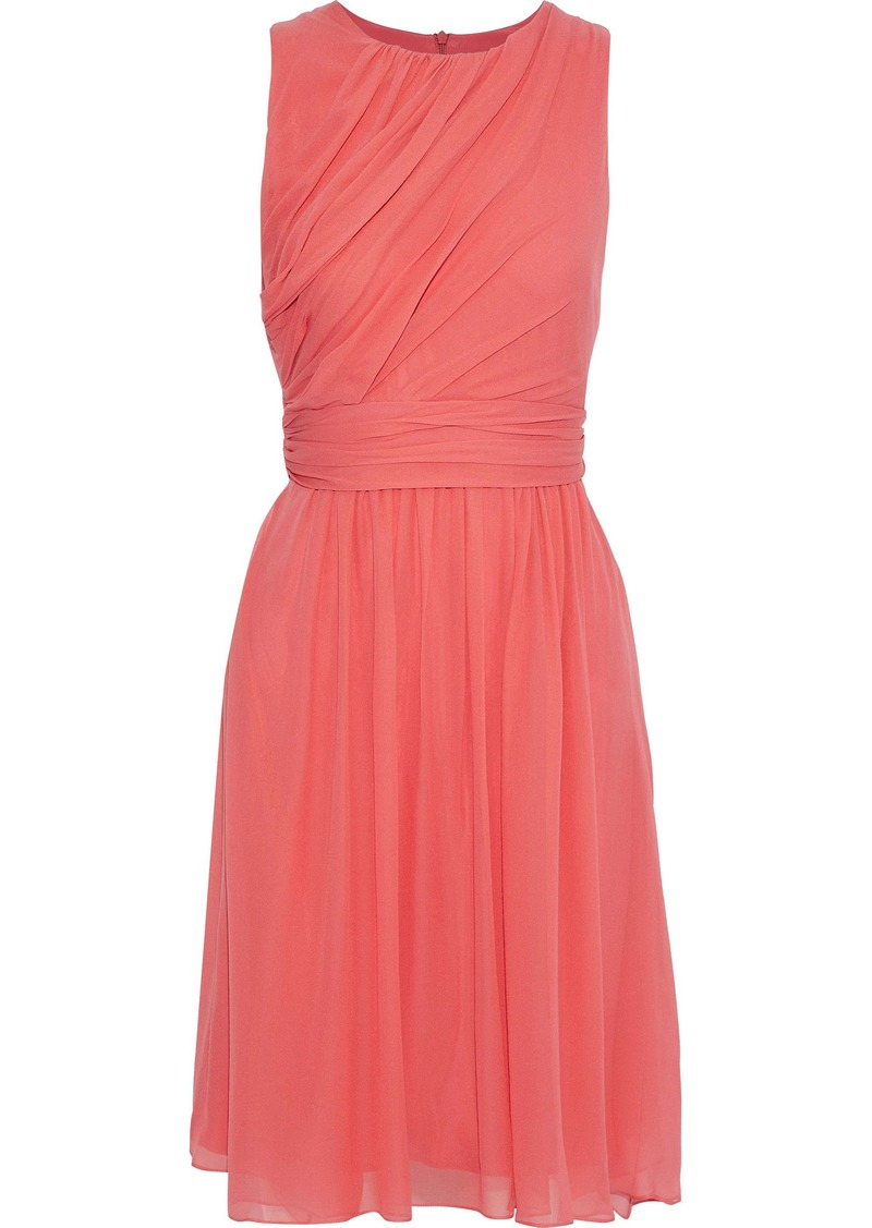 Max Mara Woman Penny Gathered Silk-chiffon Dress Papaya