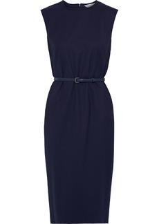 Max Mara Woman Petra Belted Stretch-wool Cady Dress Midnight Blue